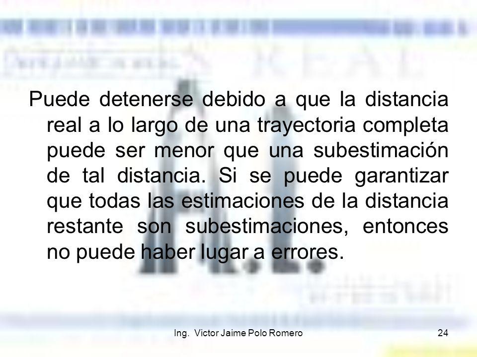 Ing. Victor Jaime Polo Romero24 Puede detenerse debido a que la distancia real a lo largo de una trayectoria completa puede ser menor que una subestim