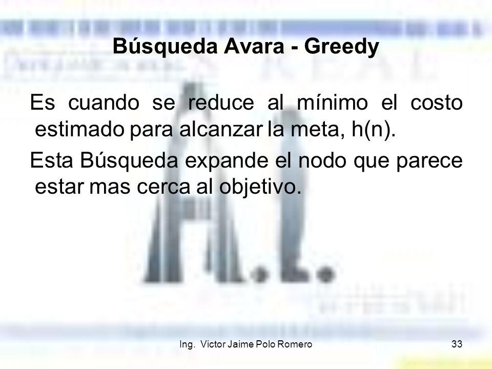 Ing. Victor Jaime Polo Romero33 Búsqueda Avara - Greedy Es cuando se reduce al mínimo el costo estimado para alcanzar la meta, h(n). Esta Búsqueda exp