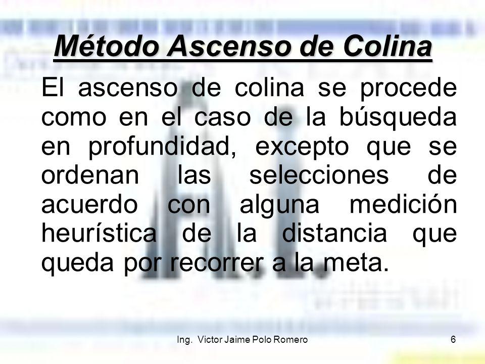 Ing. Victor Jaime Polo Romero6 Método Ascenso de Colina El ascenso de colina se procede como en el caso de la búsqueda en profundidad, excepto que se