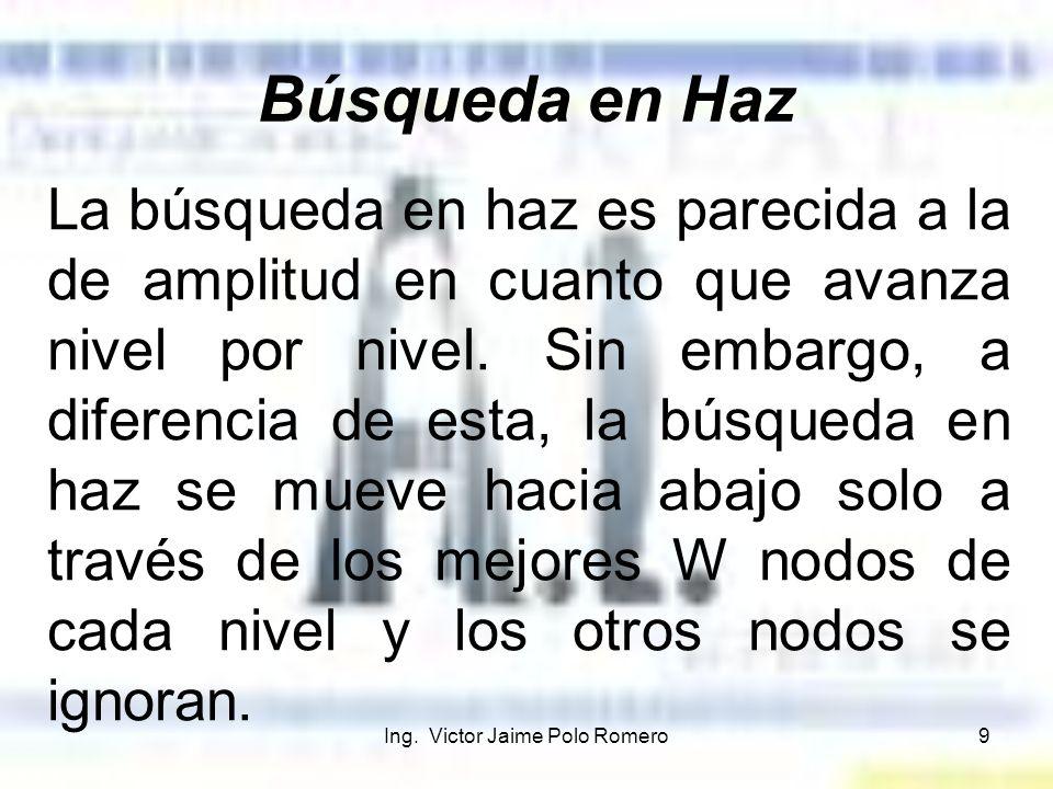 Ing. Victor Jaime Polo Romero9 Búsqueda en Haz La búsqueda en haz es parecida a la de amplitud en cuanto que avanza nivel por nivel. Sin embargo, a di
