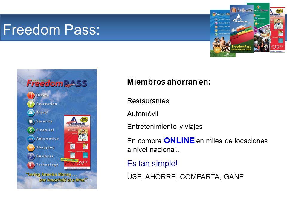 The Company Freedom Pass: Miembros ahorran en: Restaurantes Automóvil Entretenimiento y viajes En compra ONLINE en miles de locaciones a nivel naciona