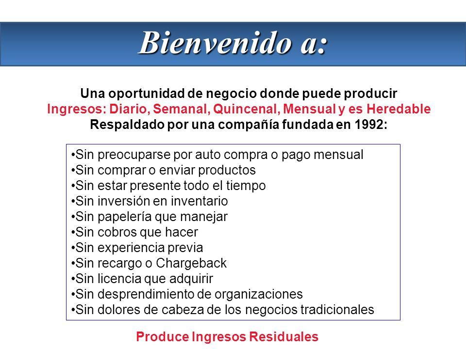 Una oportunidad de negocio donde puede producir Ingresos: Diario, Semanal, Quincenal, Mensual y es Heredable Respaldado por una compañía fundada en 19