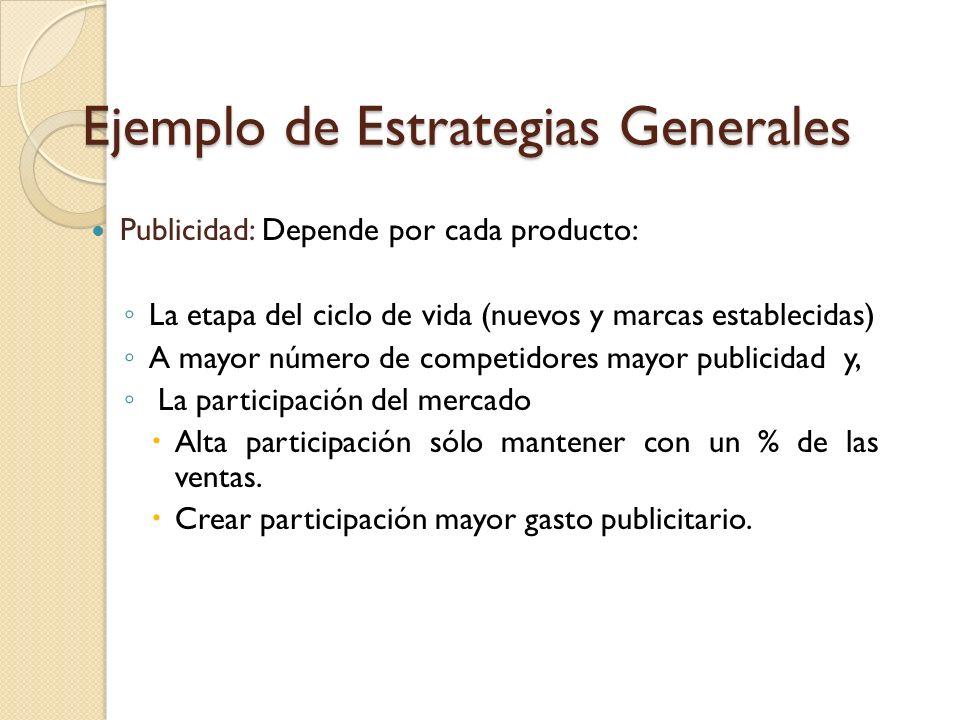 Ejemplo de Estrategias Generales Precios: De acuerdo al valor ideal del segmento en que se encontraba el producto y tambien según los precios de los c