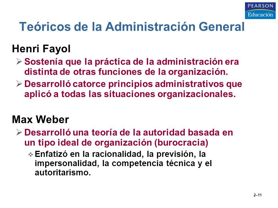 2–11 Teóricos de la Administración General Henri Fayol Sostenía que la práctica de la administración era distinta de otras funciones de la organizació