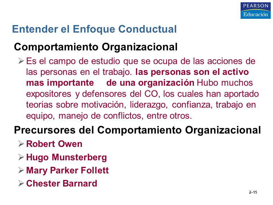 2–15 Entender el Enfoque Conductual Comportamiento Organizacional Es el campo de estudio que se ocupa de las acciones de las personas en el trabajo. l