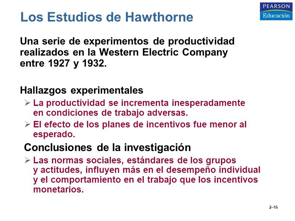 2–16 Los Estudios de Hawthorne Una serie de experimentos de productividad realizados en la Western Electric Company entre 1927 y 1932. Hallazgos exper
