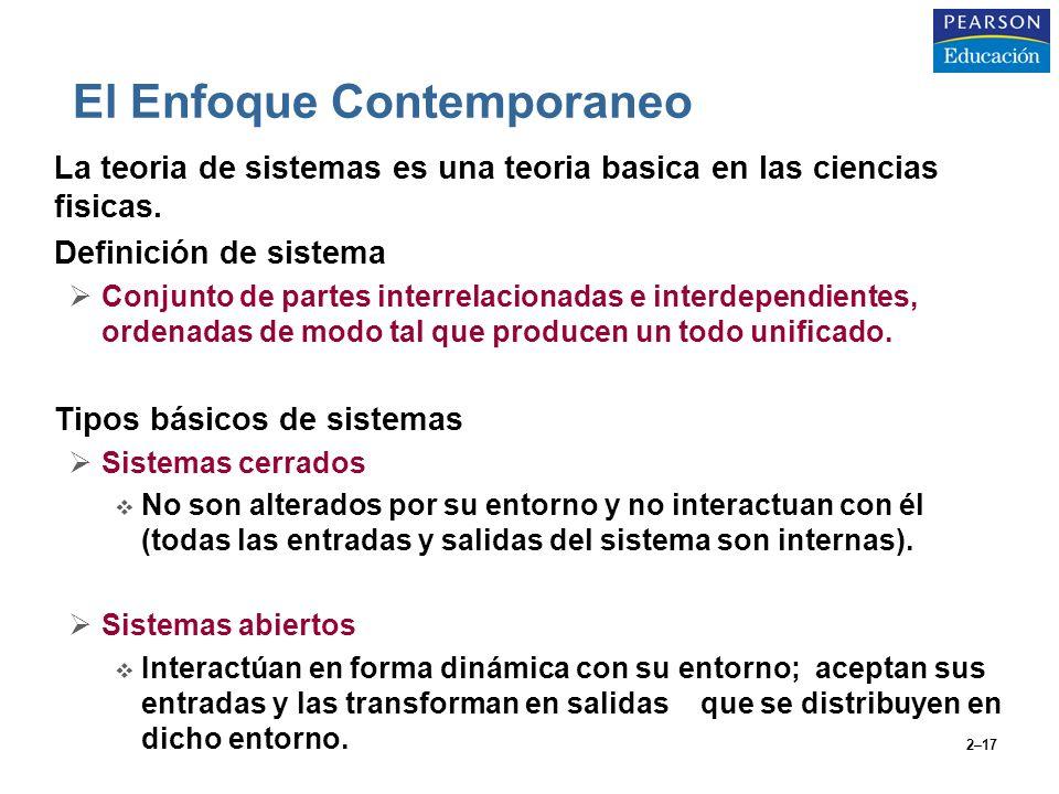 2–17 El Enfoque Contemporaneo La teoria de sistemas es una teoria basica en las ciencias fisicas. Definición de sistema Conjunto de partes interrelaci