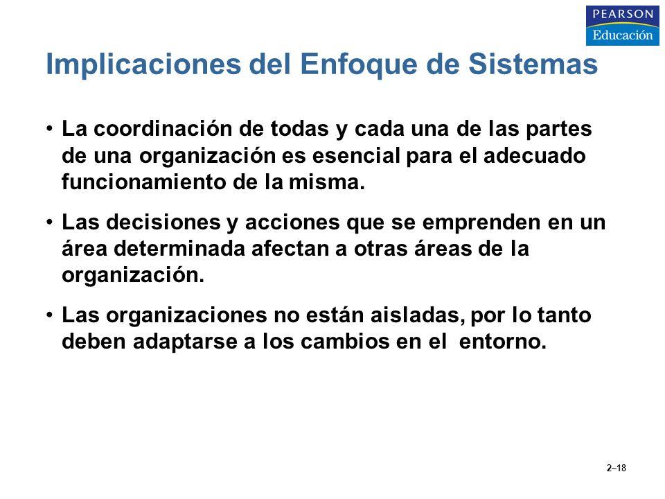 2–18 Implicaciones del Enfoque de Sistemas La coordinación de todas y cada una de las partes de una organización es esencial para el adecuado funciona