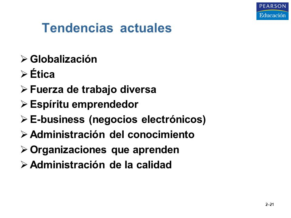 2–21 Tendencias actuales Globalización Ética Fuerza de trabajo diversa Espíritu emprendedor E-business (negocios electrónicos) Administración del cono