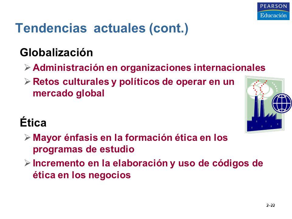 2–22 Tendencias actuales (cont.) Globalización Administración en organizaciones internacionales Retos culturales y políticos de operar en un mercado g
