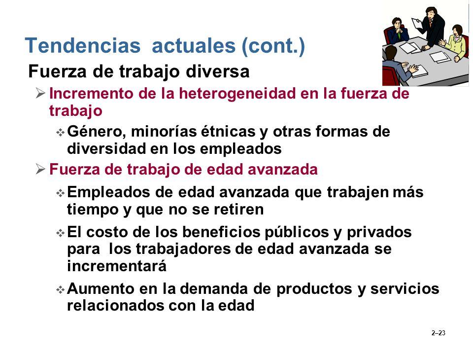 2–23 Fuerza de trabajo diversa Incremento de la heterogeneidad en la fuerza de trabajo Género, minorías étnicas y otras formas de diversidad en los em