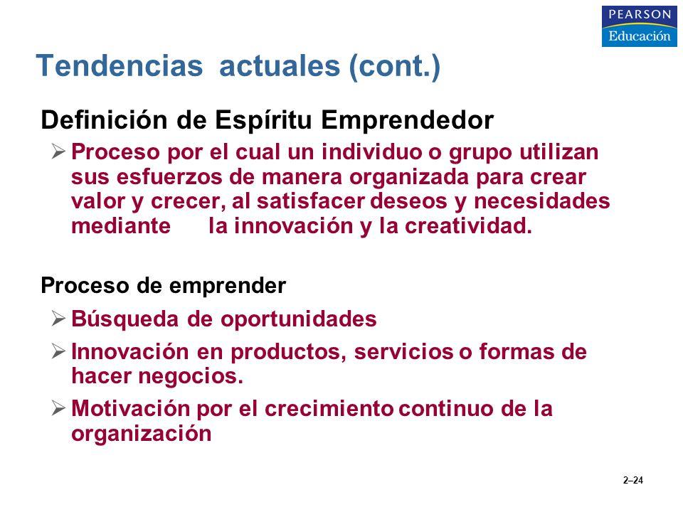 2–24 Definición de Espíritu Emprendedor Proceso por el cual un individuo o grupo utilizan sus esfuerzos de manera organizada para crear valor y crecer