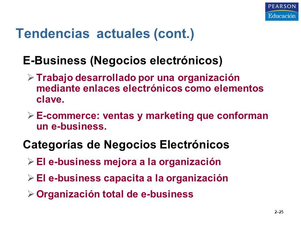 2–25 E-Business (Negocios electrónicos) Trabajo desarrollado por una organización mediante enlaces electrónicos como elementos clave. E-commerce: vent