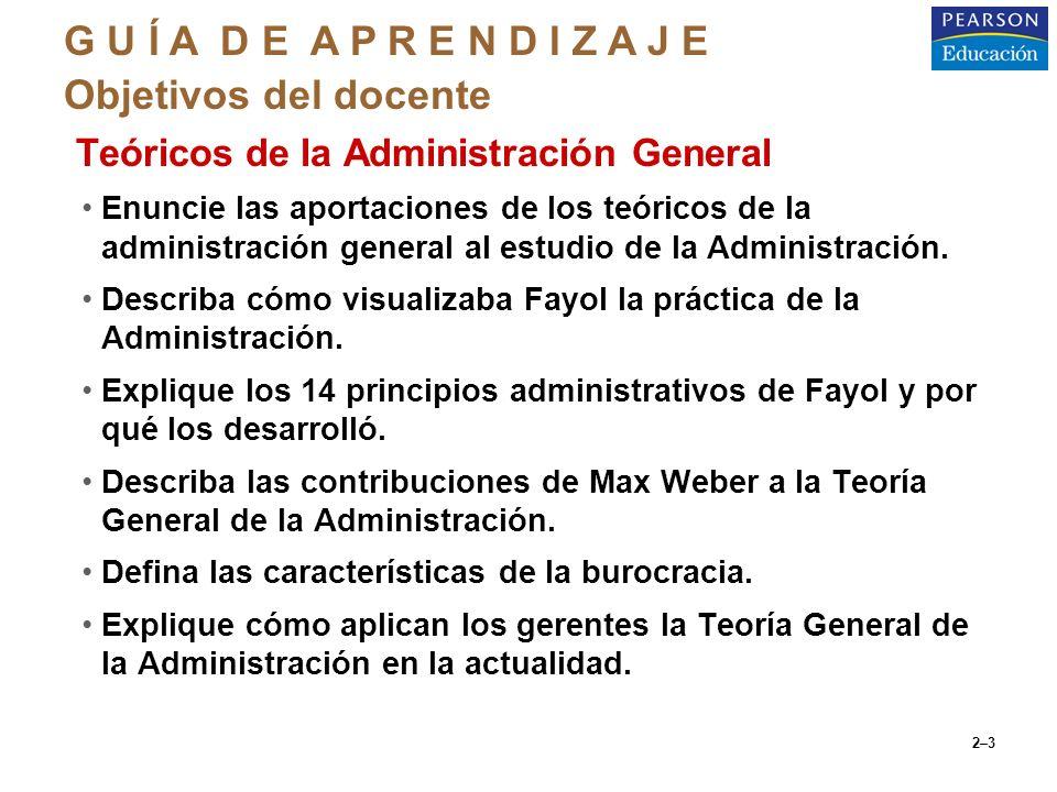 2–3 oTeóricos de la Administración General Enuncie las aportaciones de los teóricos de la administración general al estudio de la Administración. Desc