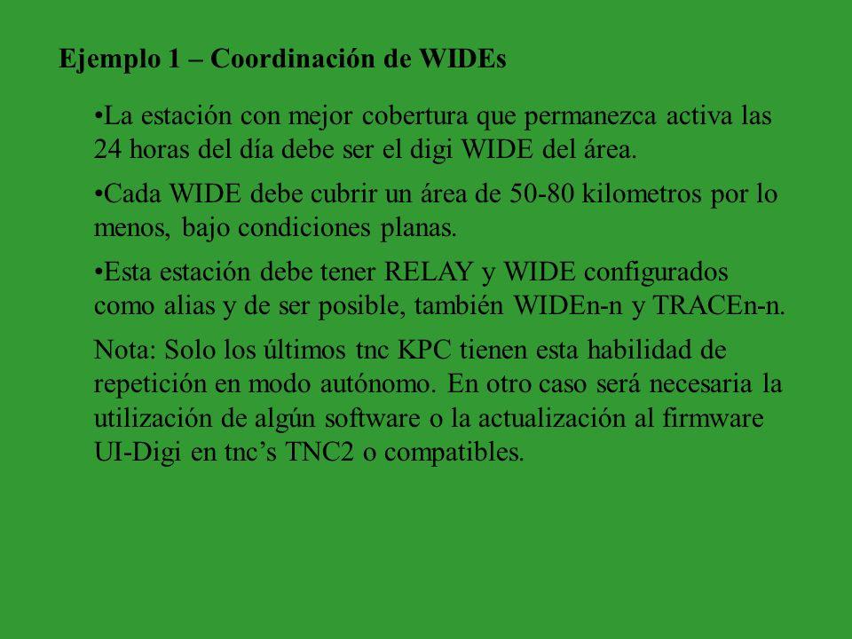 Ejemplo 1 – Coordinación de WIDEs La estación con mejor cobertura que permanezca activa las 24 horas del día debe ser el digi WIDE del área. Cada WIDE