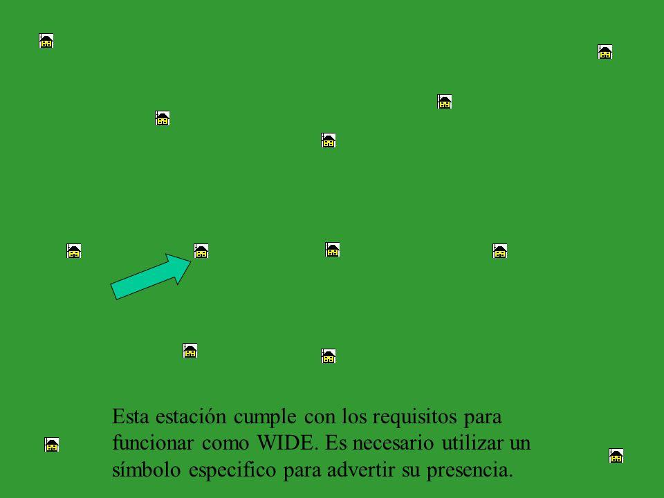Esta estación cumple con los requisitos para funcionar como WIDE. Es necesario utilizar un símbolo especifico para advertir su presencia.