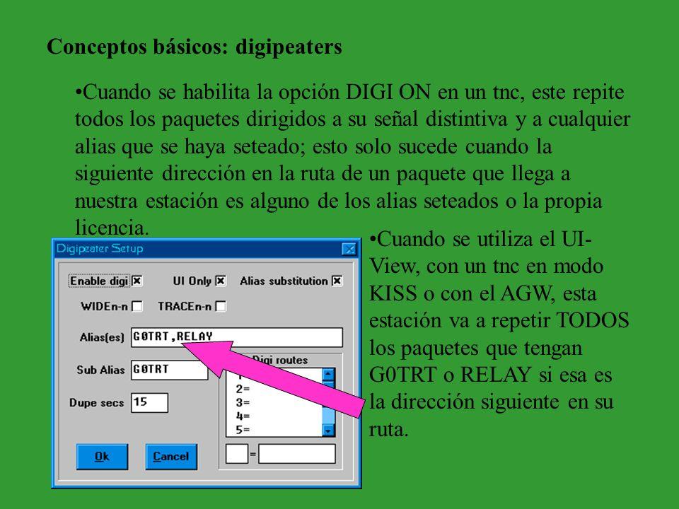 Conceptos básicos: digipeaters Cuando se habilita la opción DIGI ON en un tnc, este repite todos los paquetes dirigidos a su señal distintiva y a cual
