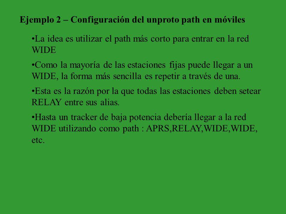 Ejemplo 2 – Configuración del unproto path en móviles La idea es utilizar el path más corto para entrar en la red WIDE Como la mayoría de las estacion