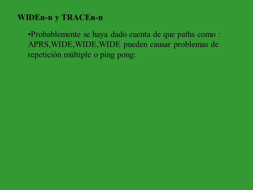 WIDEn-n y TRACEn-n Probablemente se haya dado cuenta de que paths como : APRS,WIDE,WIDE,WIDE pueden causar problemas de repetición múltiple o ping pon