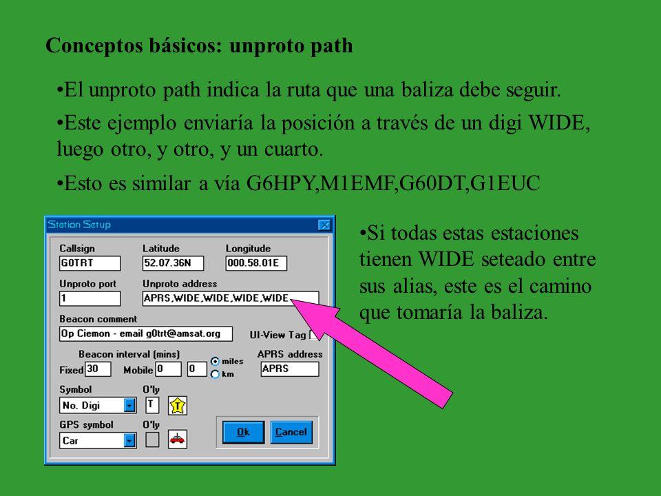 Conceptos básicos: unproto path El unproto path indica la ruta que una baliza debe seguir. Si todas estas estaciones tienen WIDE seteado entre sus ali
