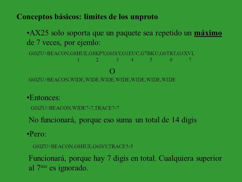 Conceptos básicos: límites de los unproto AX25 solo soporta que un paquete sea repetido un máximo de 7 veces, por ejemlo: Entonces: G0IZU>BEACON,G8HUE