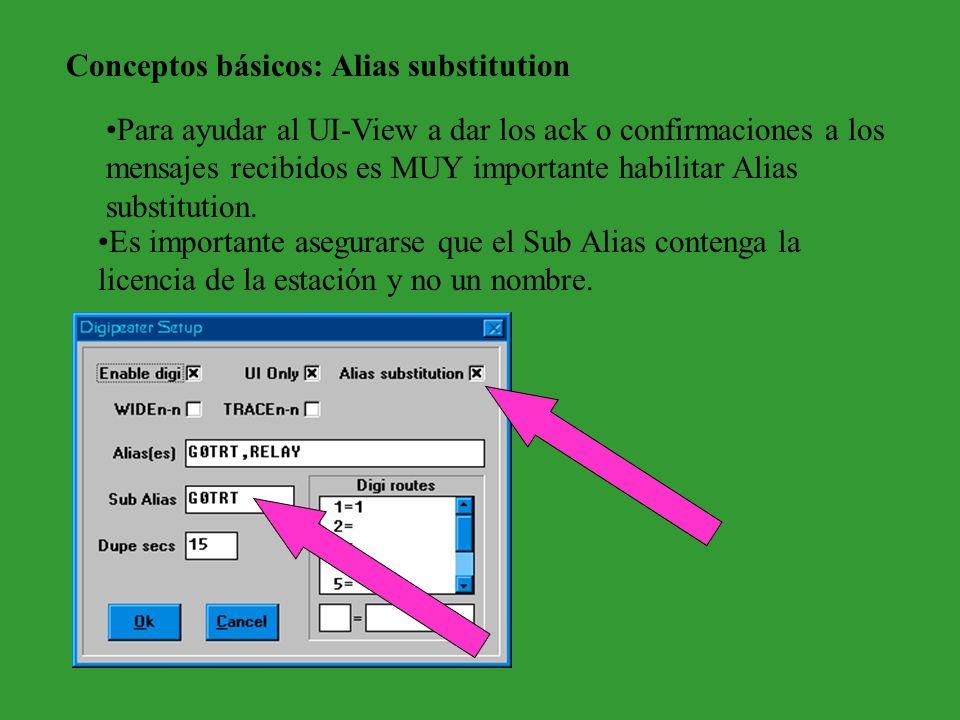 Conceptos básicos: Alias substitution Para ayudar al UI-View a dar los ack o confirmaciones a los mensajes recibidos es MUY importante habilitar Alias