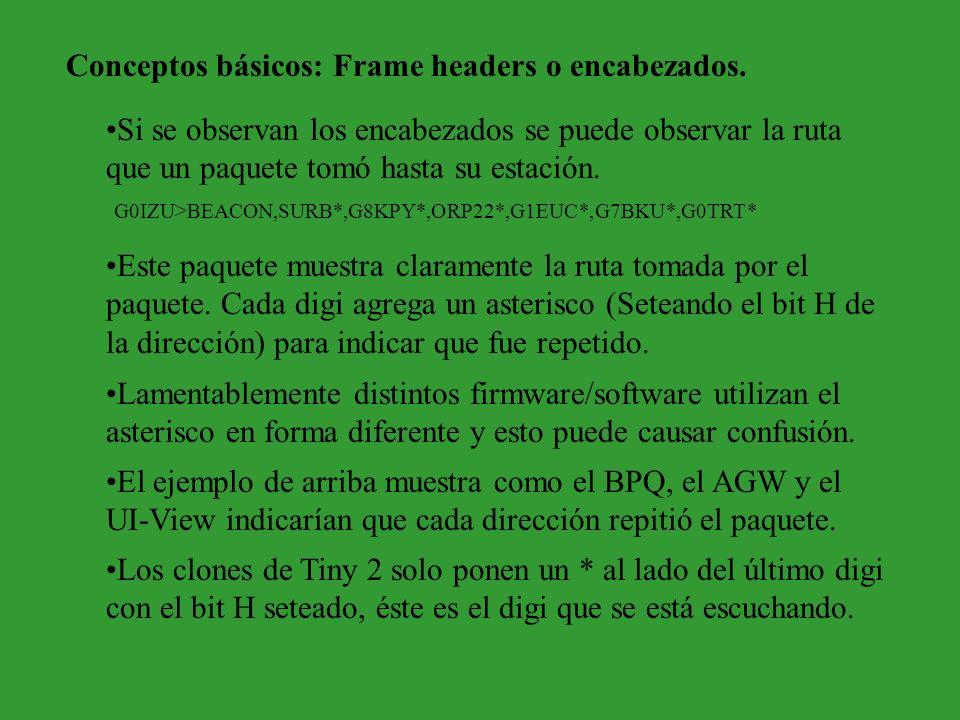 Conceptos básicos: Frame headers o encabezados. Si se observan los encabezados se puede observar la ruta que un paquete tomó hasta su estación. Este p