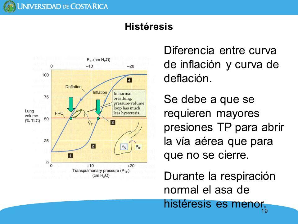 19 Histéresis Diferencia entre curva de inflación y curva de deflación. Se debe a que se requieren mayores presiones TP para abrir la vía aérea que pa