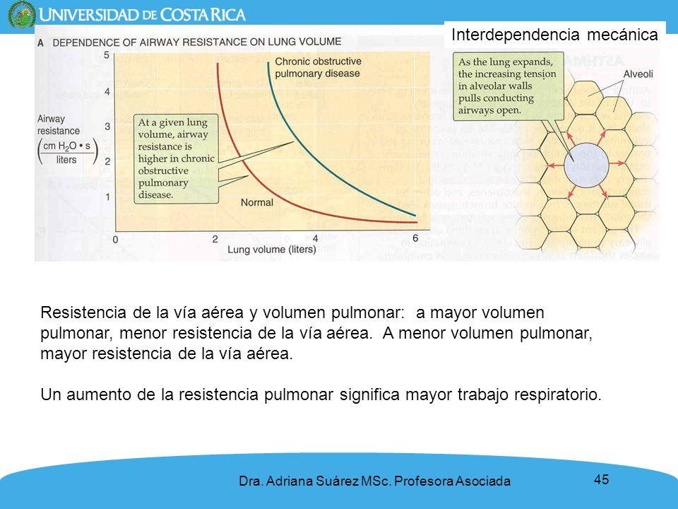 45 Resistencia de la vía aérea y volumen pulmonar: a mayor volumen pulmonar, menor resistencia de la vía aérea. A menor volumen pulmonar, mayor resist