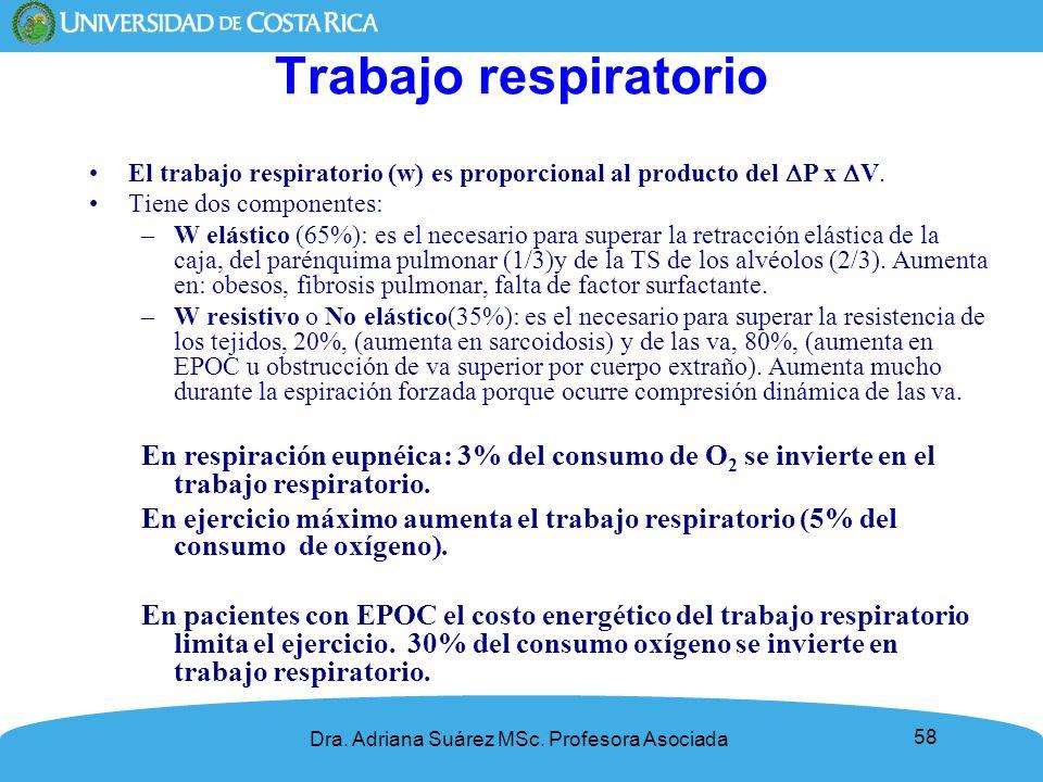 58 Trabajo respiratorio El trabajo respiratorio (w) es proporcional al producto del P x V. Tiene dos componentes: –W elástico (65%): es el necesario p