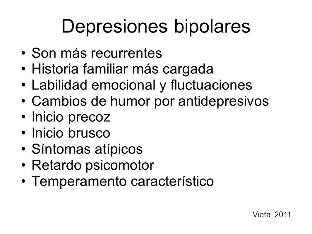 Depresiones bipolares Son más recurrentes Historia familiar más cargada Labilidad emocional y fluctuaciones Cambios de humor por antidepresivos Inicio