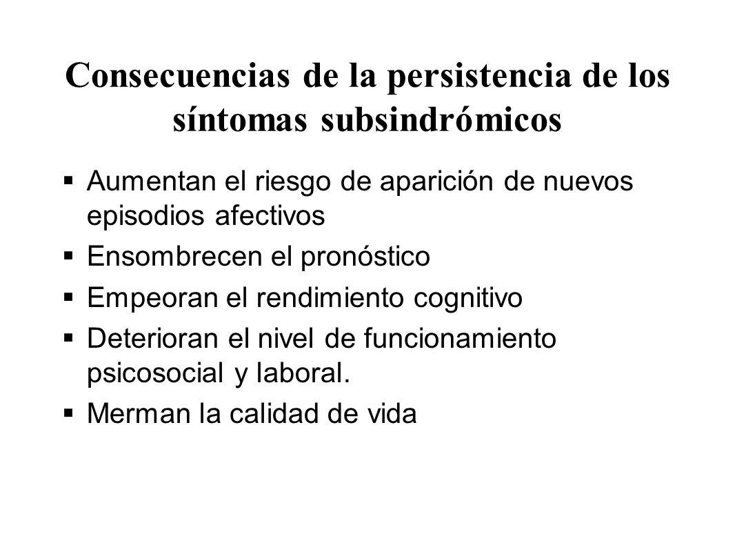 Consecuencias de la persistencia de los síntomas subsindrómicos Aumentan el riesgo de aparición de nuevos episodios afectivos Ensombrecen el pronóstic