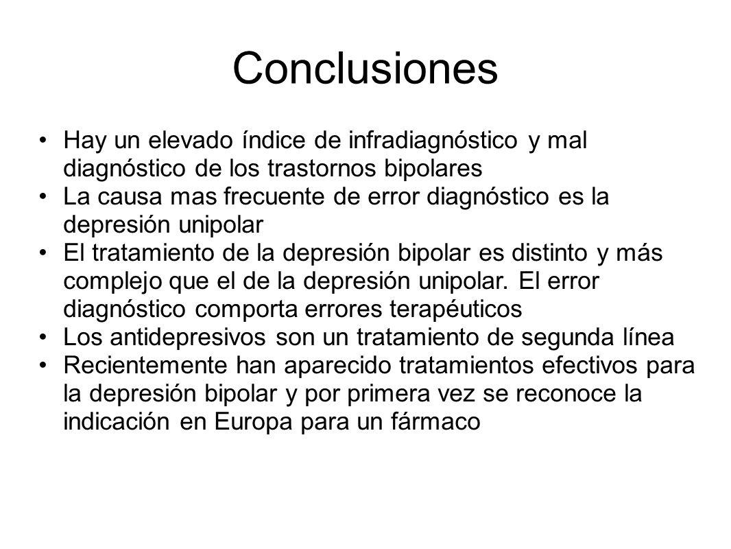Hay un elevado índice de infradiagnóstico y mal diagnóstico de los trastornos bipolares La causa mas frecuente de error diagnóstico es la depresión un