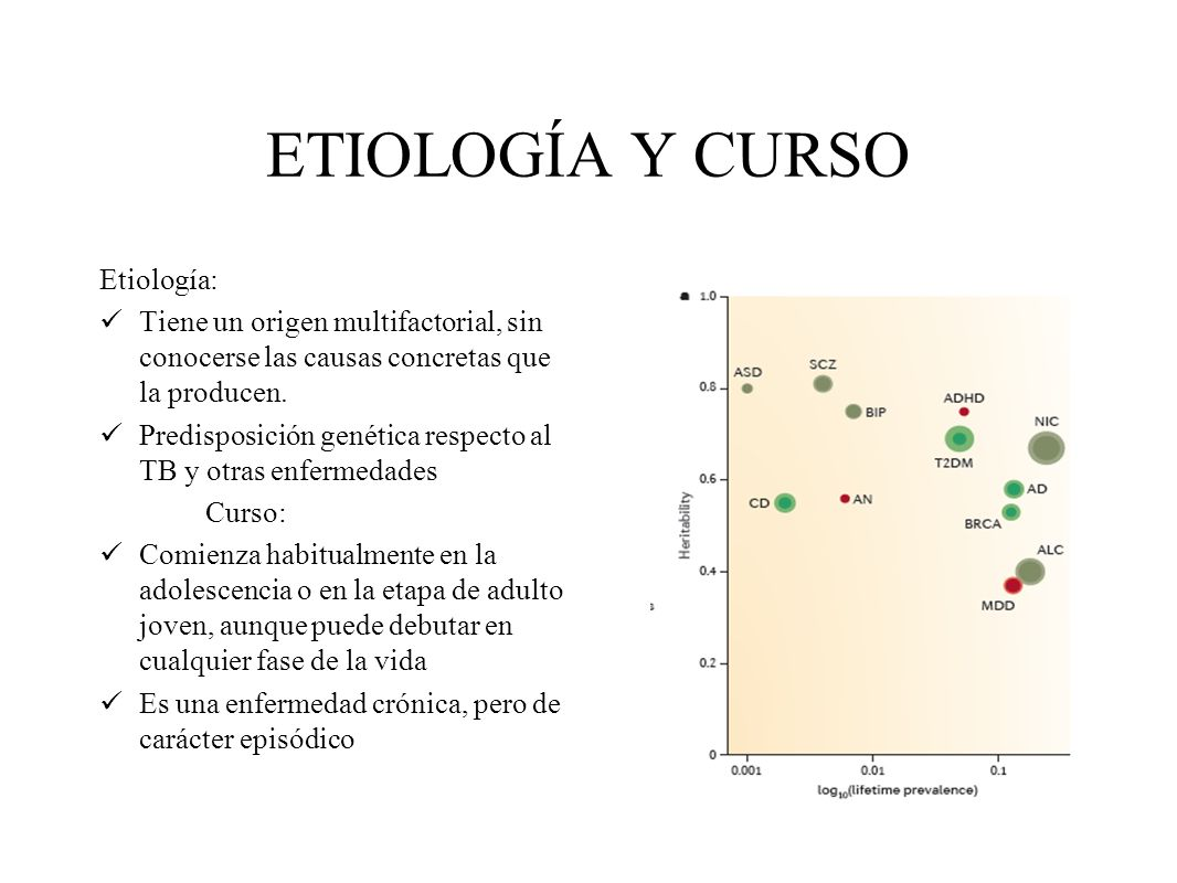ETIOLOGÍA Y CURSO Etiología: Tiene un origen multifactorial, sin conocerse las causas concretas que la producen. Predisposición genética respecto al T