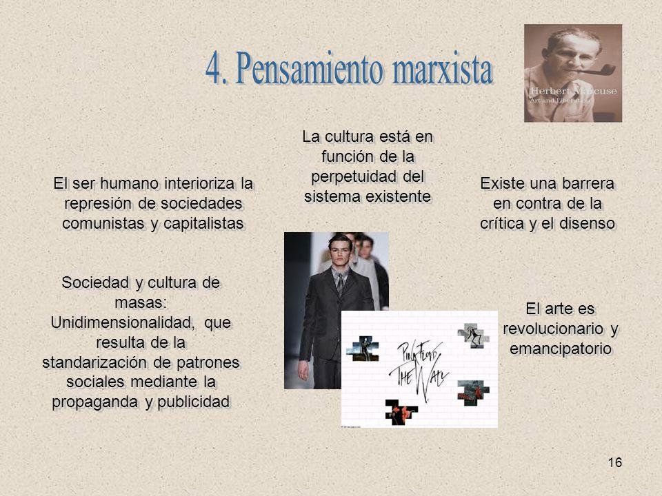 16 El ser humano interioriza la represión de sociedades comunistas y capitalistas La cultura está en función de la perpetuidad del sistema existente E