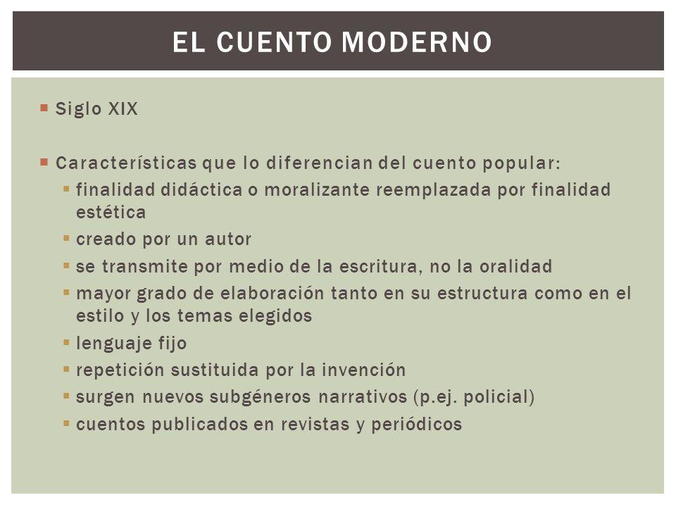 Siglo XIX Características que lo diferencian del cuento popular: finalidad didáctica o moralizante reemplazada por finalidad estética creado por un au