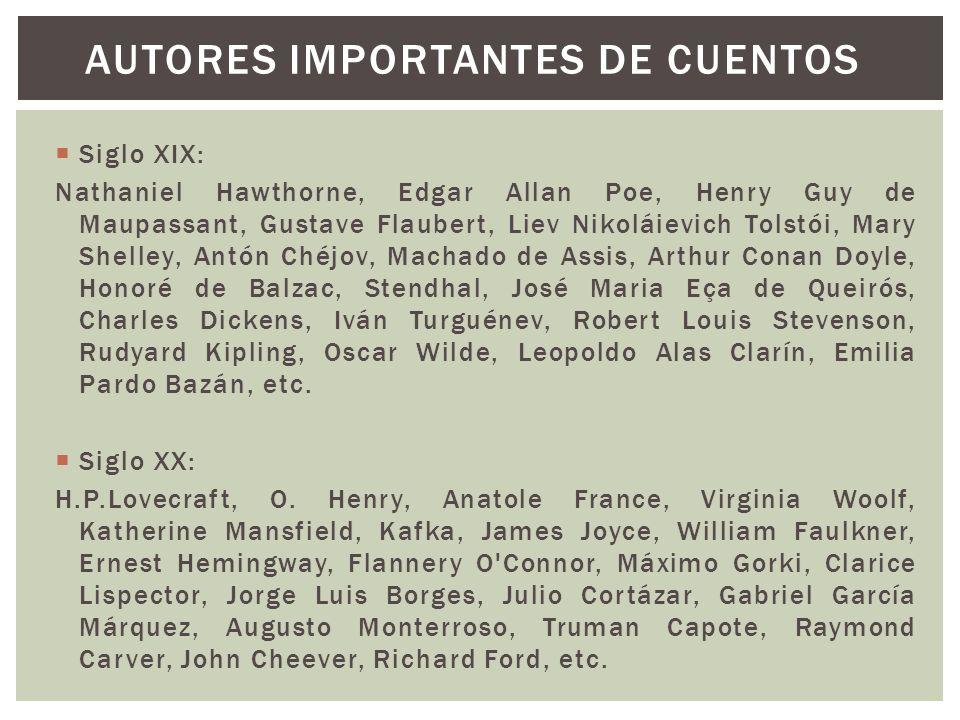 Siglo XIX: Nathaniel Hawthorne, Edgar Allan Poe, Henry Guy de Maupassant, Gustave Flaubert, Liev Nikoláievich Tolstói, Mary Shelley, Antón Chéjov, Mac