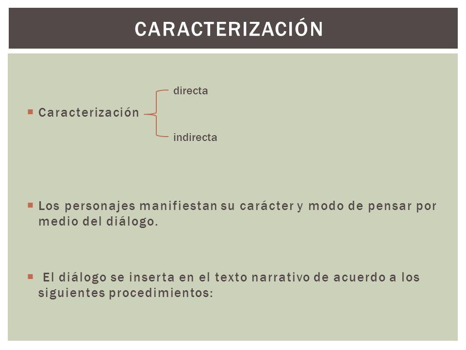 Caracterización Los personajes manifiestan su carácter y modo de pensar por medio del diálogo. El diálogo se inserta en el texto narrativo de acuerdo