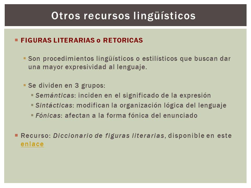 FIGURAS LITERARIAS o RETORICAS Son procedimientos lingüísticos o estilísticos que buscan dar una mayor expresividad al lenguaje. Se dividen en 3 grupo