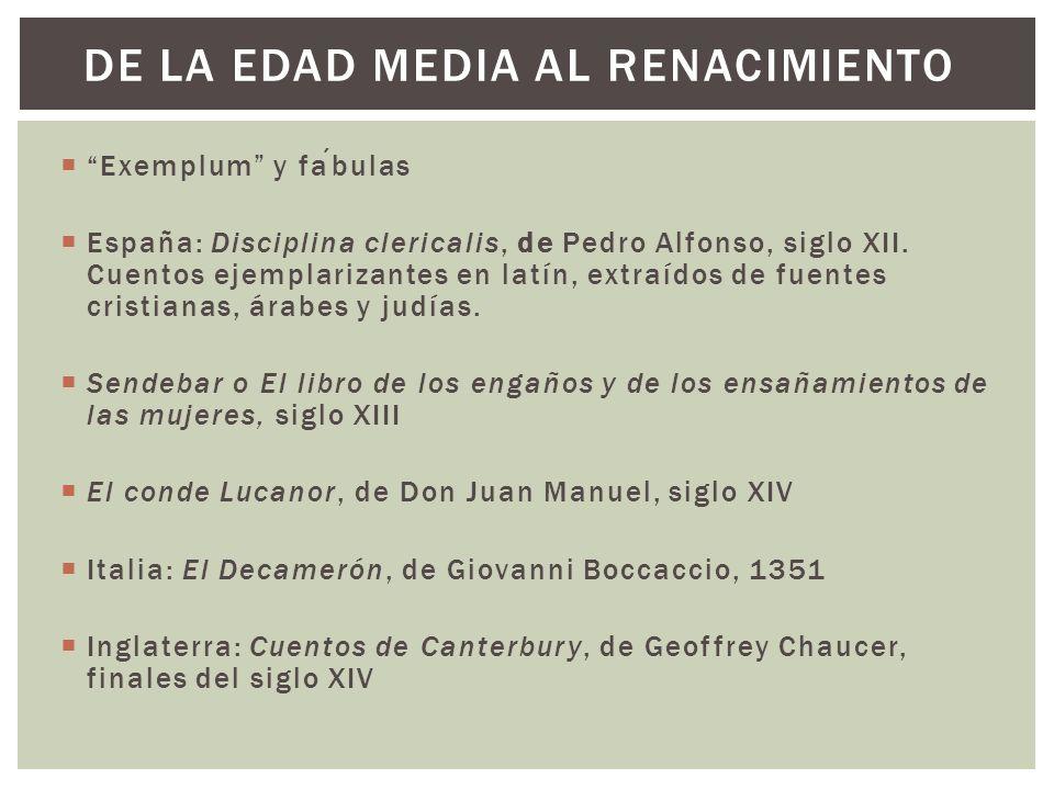 Exemplum y fabulas España: Disciplina clericalis, de Pedro Alfonso, siglo XII. Cuentos ejemplarizantes en latín, extraídos de fuentes cristianas, árab