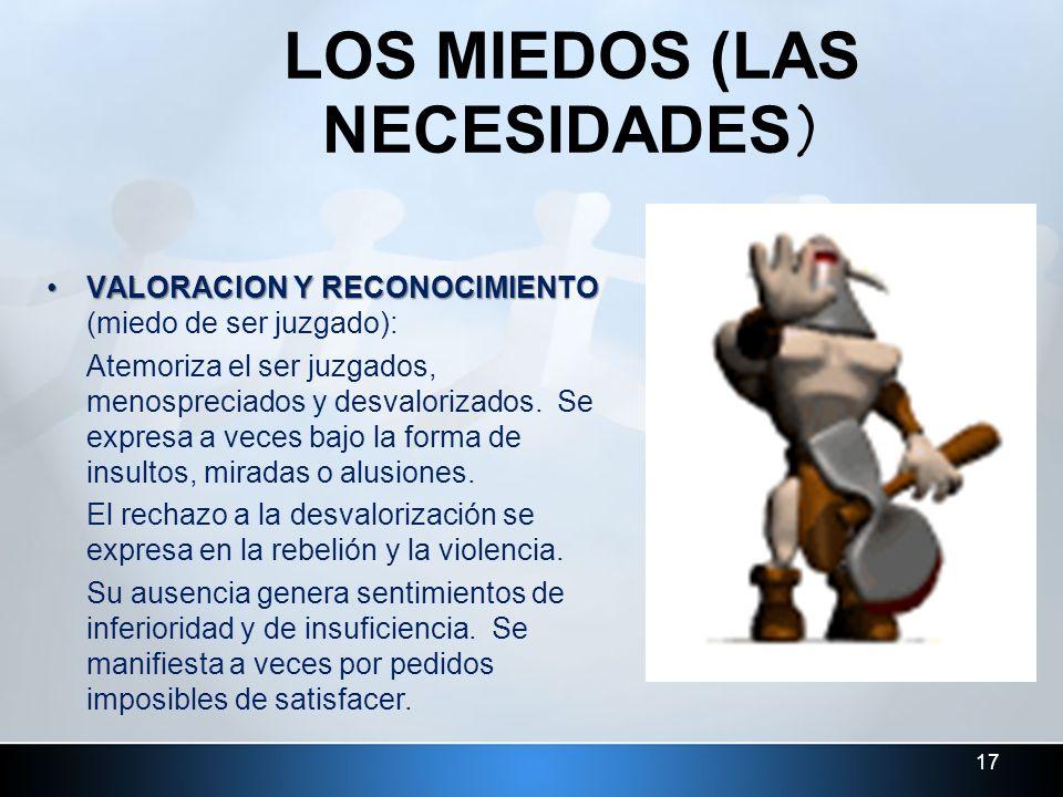 17 LOS MIEDOS (LAS NECESIDADES) VALORACION Y RECONOCIMIENTOVALORACION Y RECONOCIMIENTO (miedo de ser juzgado): Atemoriza el ser juzgados, menospreciad