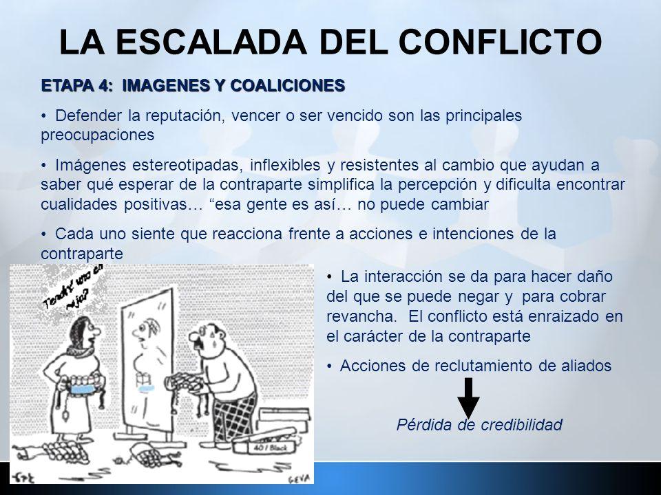 LA ESCALADA DEL CONFLICTO ETAPA 4: IMAGENES Y COALICIONES Defender la reputación, vencer o ser vencido son las principales preocupaciones Imágenes est
