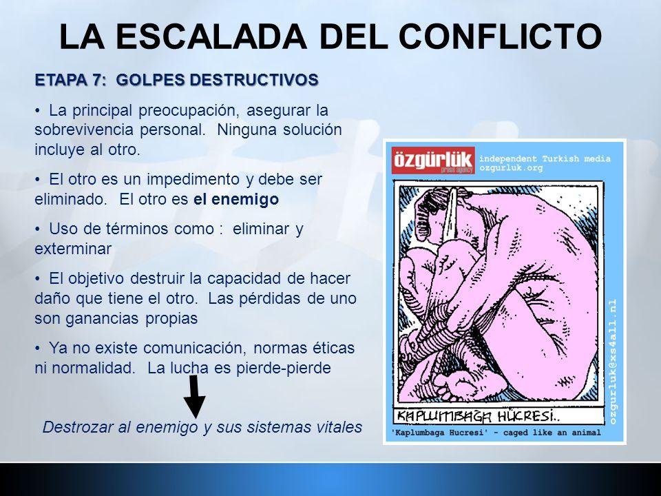 LA ESCALADA DEL CONFLICTO ETAPA 7: GOLPES DESTRUCTIVOS La principal preocupación, asegurar la sobrevivencia personal. Ninguna solución incluye al otro