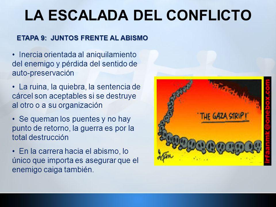 LA ESCALADA DEL CONFLICTO ETAPA 9: JUNTOS FRENTE AL ABISMO Inercia orientada al aniquilamiento del enemigo y pérdida del sentido de auto-preservación