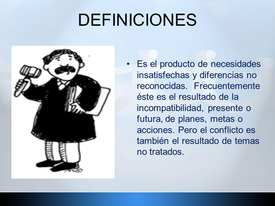 DEFINICIONES Es el producto de necesidades insatisfechas y diferencias no reconocidas. Frecuentemente éste es el resultado de la incompatibilidad, pre