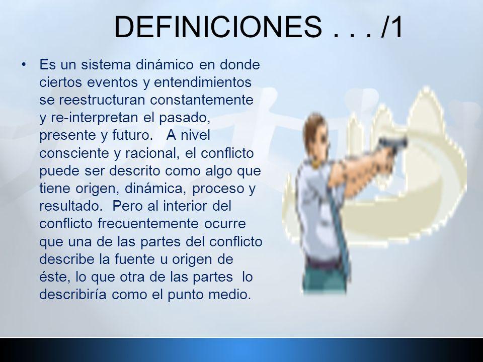 DEFINICIONES... /1 Es un sistema dinámico en donde ciertos eventos y entendimientos se reestructuran constantemente y re-interpretan el pasado, presen