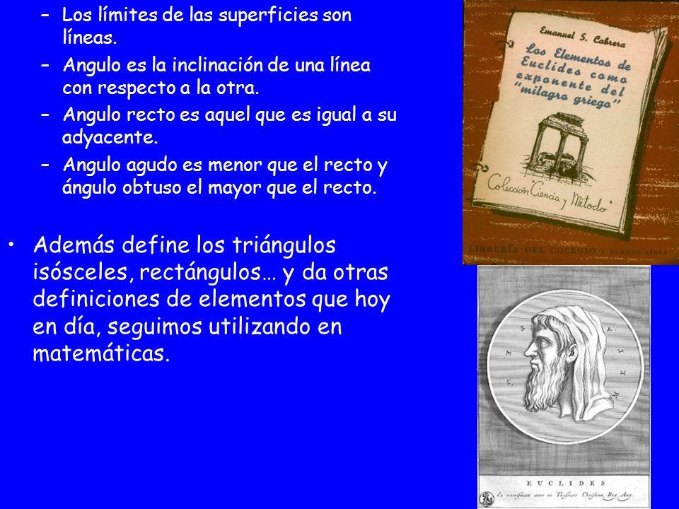 –Los límites de las superficies son líneas. –Angulo es la inclinación de una línea con respecto a la otra. –Angulo recto es aquel que es igual a su ad