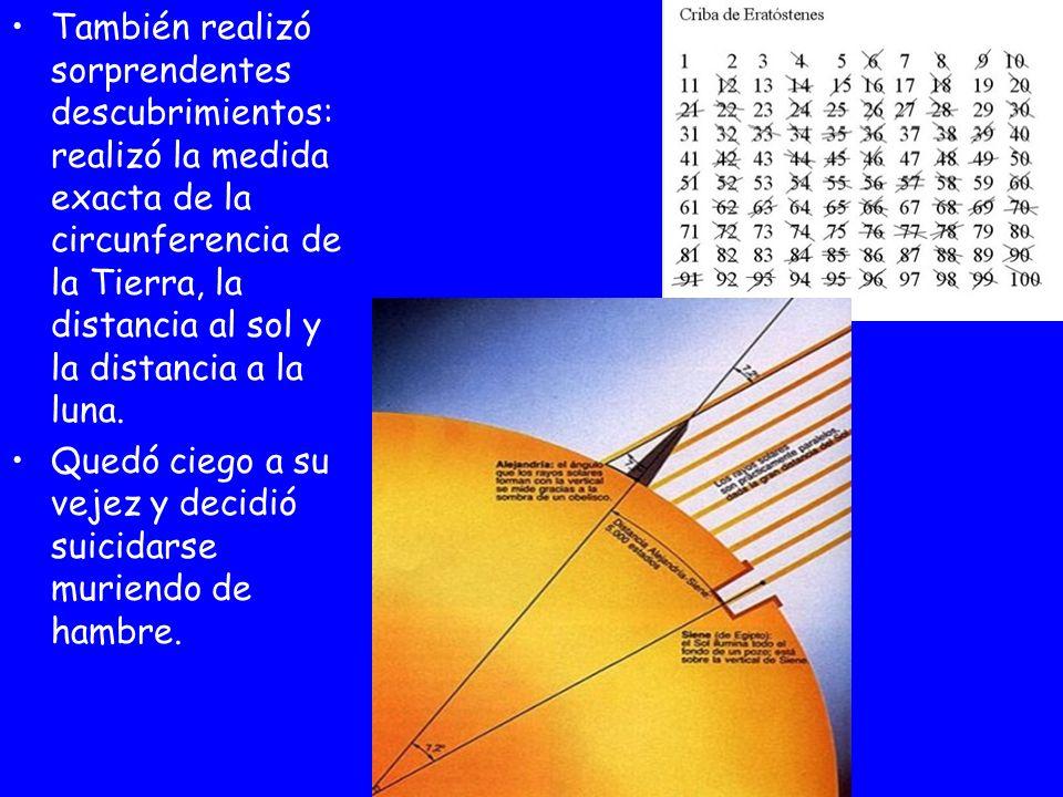 También realizó sorprendentes descubrimientos: realizó la medida exacta de la circunferencia de la Tierra, la distancia al sol y la distancia a la lun