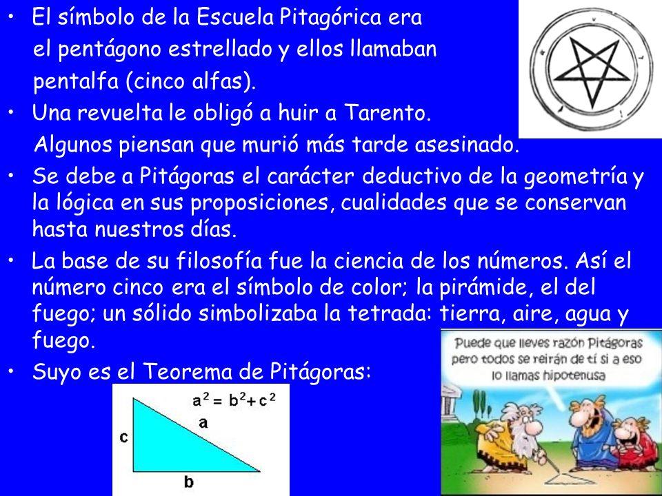 El símbolo de la Escuela Pitagórica era el pentágono estrellado y ellos llamaban pentalfa (cinco alfas). Una revuelta le obligó a huir a Tarento. Algu