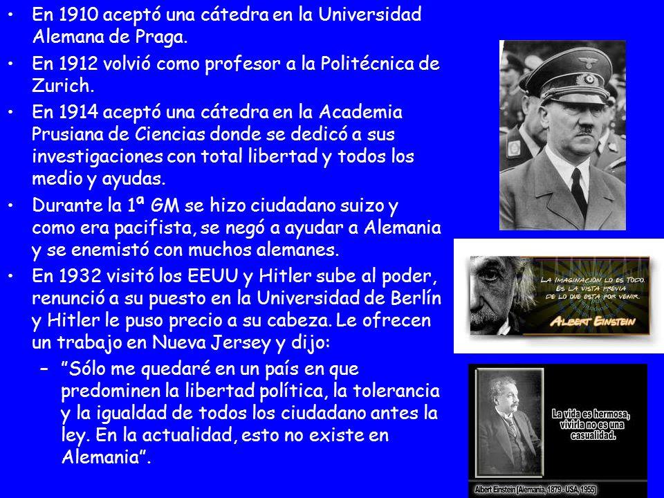 En 1910 aceptó una cátedra en la Universidad Alemana de Praga. En 1912 volvió como profesor a la Politécnica de Zurich. En 1914 aceptó una cátedra en